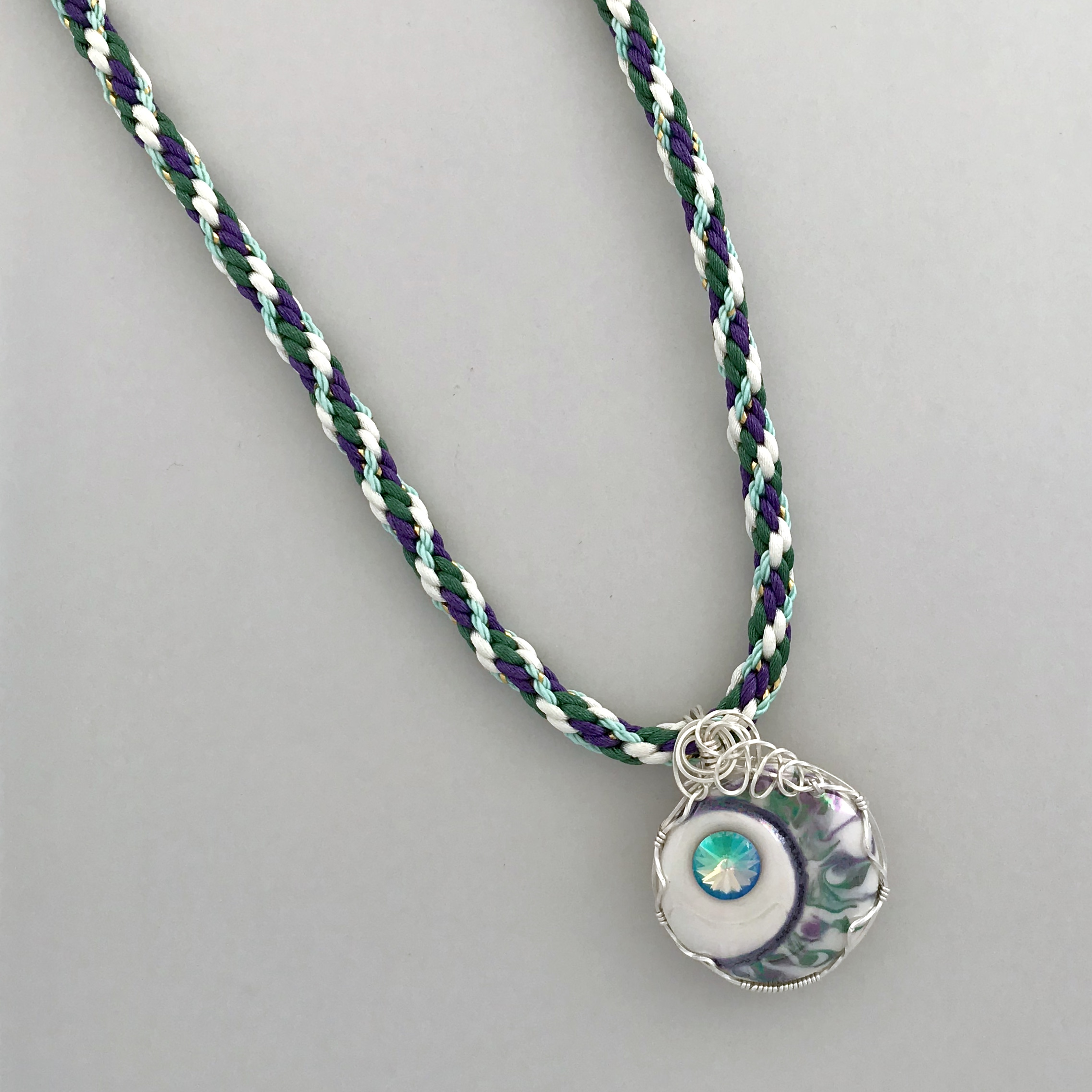 Kumihimo Braid with Wire Wrapped Porcelain Pendant #KBN12 | Indigo