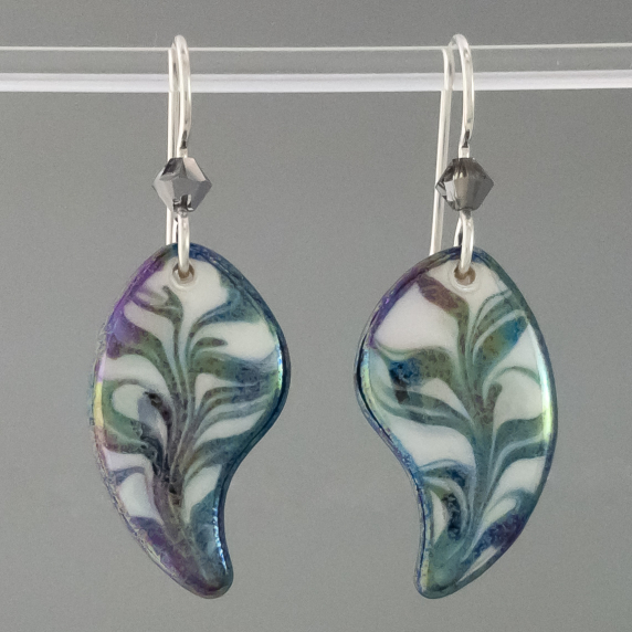 Black and White Angel Wing Marbled Porcelain Earring Indigo Turtle Art