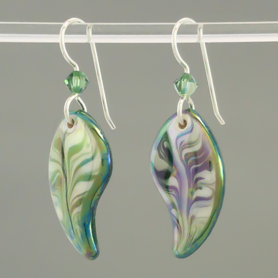 Green Angel Wing Porcelain Earring Indigo Turtle Art