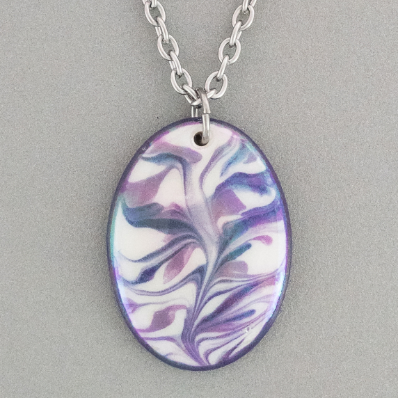 Purple Oval Porcelain Necklace Indigo Turtle Art