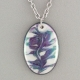 Black and White Oval Porcelain Necklace Indigo Turtle Art