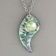Green Angel Wing Porcelain Necklace Swarovski Crystal Accent Indigo Turtle Art