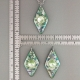 Green Diamond Porcelain Necklace Swarovski Crystal Accent Indigo Turtle Art