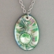 Green Oval Porcelain Necklace Swarovski Crystal Accent Indigo Turtle Art