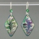 Green Diamond Porcelain Earring Indigo Turtle Art