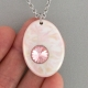 Pink Oval Porcelain Necklace Swarovski Crystal Accent Indigo Turtle Art