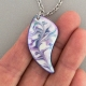 Purple Angel Wing Porcelain Necklace Indigo Turtle Art