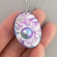 Purple Oval Porcelain Necklace Swarovski Crystal Accent Indigo Turtle Art