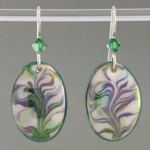 Green Oval Porcelain Earring Indigo Turtle Art