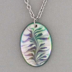 Green Oval Porcelain Necklace Indigo Turtle Art
