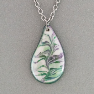 Green Teardrop Porcelain Necklace Indigo Turtle Art