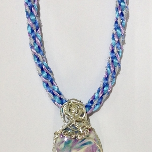 Kumihimo Braid with Wire Wrapped Porcelain Pendant #KBN45