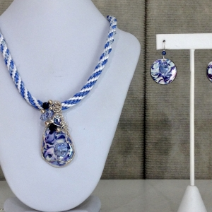 Kumihimo Braid with Wire Wrapped Porcelain #KBN6