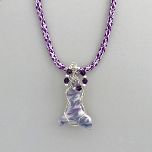 Kumihimo Braid with Wire Wrapped Porcelain Pendant #KBN36