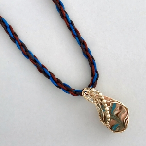 Kumihimo Braid with Wire Wrapped Porcelain Pendant #KBN20