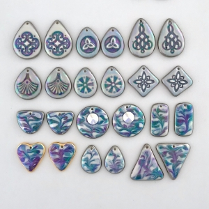 Indigo Turtle Art green color palette earring components