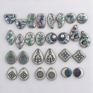 Indigo Turtle Art black & white earring components #EC7