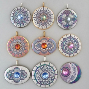 Mandala Statement Pendants with Swarovski Rivoli Crystals #SPP3