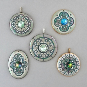 Mandala Statement Pendants with Swarovski Rivoli Crystals #SPP4