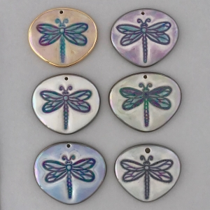 Indigo Turtle Art small dragonfly pendant #IPC3