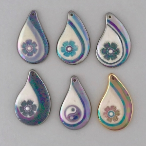 Indigo Turtle Art teardrop flower swoosh image pendants #IPC9