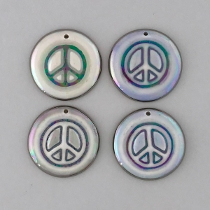 Indigo Turtle Art round peace sign image pendants #IPC11