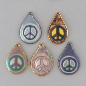 Indigo Turtle Art teardrop peace sign image pendants #IPC12