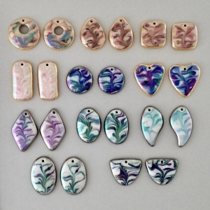Indigo Turtle Art assorted colors of marbled earring components #EC8