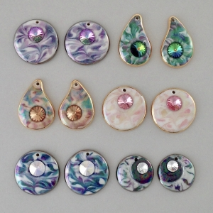 Indigo Turtle Art assorted colors of crystal accented earring components #EC9