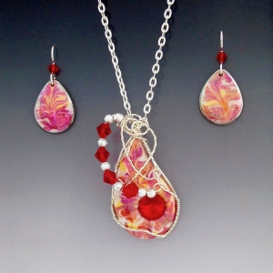 Porcelain Wire Wrapped Pendant Set ~ oval Fire Opal