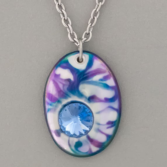 Blue Oval Porcelain Necklace Swarovski Crystal Accent Indigo Turtle Art