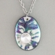 Black and White Oval Porcelain Necklace Swarovski Crystal Accent Indigo Turtle A