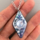 Blue Diamond Porcelain Necklace Swarovski Crystal Accent Indigo Turtle Art