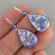 Blue Teardrop Porcelain Earring Indigo Turtle Art