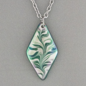 Green Diamond Porcelain Necklace Indigo Turtle Art