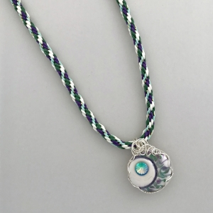 Kumihimo Braid with Wire Wrapped Porcelain Pendant #KBN12