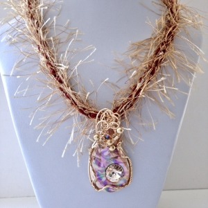 Kumihimo Braid with Wire Wrapped Porcelain Pendant #KBN18