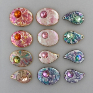 Marbled Bracelet Components with Swarovsk Rivoli Crystals #CBC8