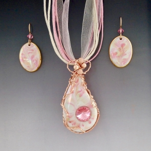 Porcelain Wire Wrapped Pendant Set ~ Pink Teardrop #AC3